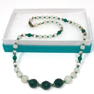 Vintage Glass Bead Necklace Spring Green & White